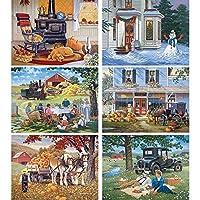 "Bits and Pieces–Set of Six (6) 300ピースジグソーパズルfor Adults 18"" x24""–クラシックAmericanaシーン–300pc Jigsaws byアーティストJohn Sloane"