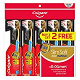 Colgate SlimSoft Toothbrush, Charcoal Gold, Extra Soft, 5 ct