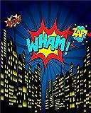 Laeacco Vinyl 4x5ft Photography Background Cartoon Comics Explosion WHAM Boom ZIP City Night Skyline Buildings Dark Blue Sky Landscape Background Personal Portraits Shooting Video Studio Props [並行輸入品]