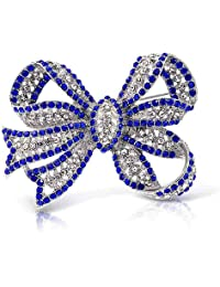 Large Fashion Statement Royal Blue Crystal Ribbon Bow Brooch Pin for Women Silver Plated