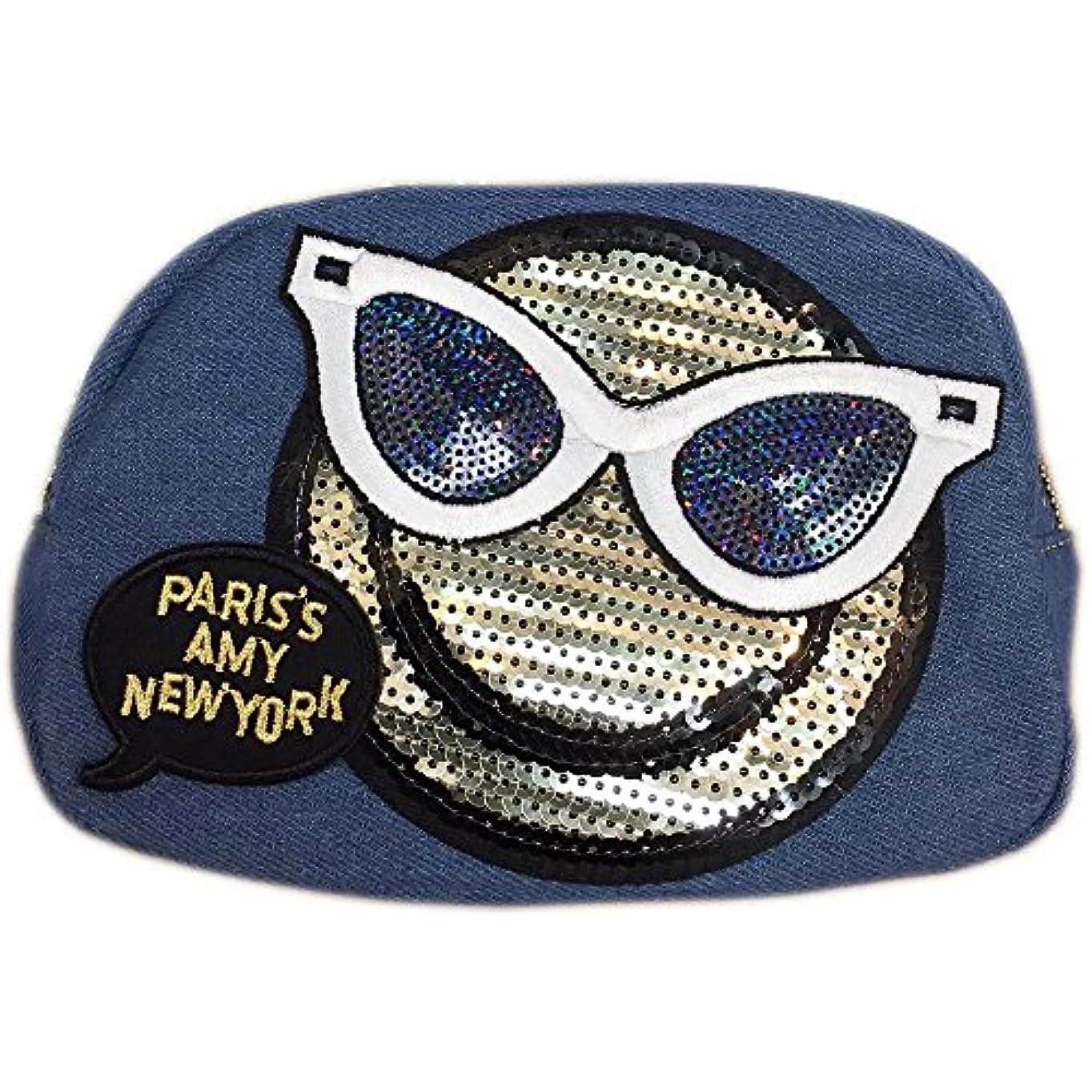 夏提供されたマインドスマイルサングラス 吹き出し デニム コスメポーチ ニコちゃん スマイル smile 化粧ポーチ ワッペン バッグinバッグ バニティメイクポーチ小物入れ デニム ポーチ (ライトブルー)
