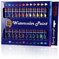 lokss水彩ペイントセット–24色–Non Toxic &鮮明な色–プレミアム品質、アーティスト、学生& Beginners。簡単にブレンド&優れたカバー。GREAT GIFT 。