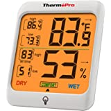 ThermoPro Indoor Hygrometer Humidity Gauge Indicator Digital Thermometer Room Temperature and Humidity Monitor with Touch Bac