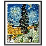 ARTomo【アトモ】パズル油絵『フレーム付き 世界名画』数字 油絵 DIY 塗り絵 本格的な油絵が誰でも簡単に楽しく描ける 40x50cm【ゴッホ 糸杉と星の見える道】
