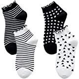 Women's Cute Ruffle Frilly Striped Color Block Ribbed Knit Casual Crew Socks 4 Pairs Size 5-9