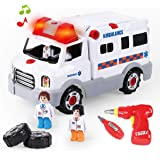 REMOKING STEM Learning Take Apart Toy, Build Your Own Car Toy Ambulance Educational Playset with Tools and Power Drill, DIY A