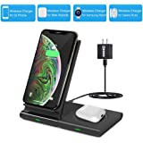 Dual Wireless Charger,COSOOS Qi Certified Wireless Charging Stand Pad for iPhone SE 2020/11 Pro Max/Xs/Xr/X/8 Plus, Airpods P