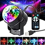 T-SUN LED Sound Activated Party Lights with Remote Control DJ Lighting USB 5W RGB Magic Crystal Disco Ball Night Light Strobe Lamp 7 Modes Stage Par Light for Home Room Dance Parties Birthday Bar Karaoke Car Xmas Wedding Show Club Pub