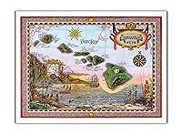 オールドハワイの地図 - ハワイの島々 - ビンテージなハワイアンカラーの地図製作のマップ によって作成された スティーブ・ストリックランド - アートポスター - 30.5cm x 41cm