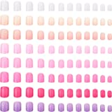 192 Pieces Colorful Short False Nails Square Artificial Fake Nail Full Cover Coffin Press on Nails Colorful 8 Sets Pink Sunse