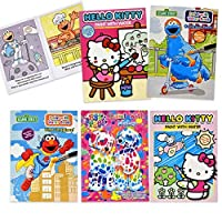 Gift Boutique Paint with Water Activity Book - Sesame Street Elmo Hello Kitty Lisa Frank Set of 5 for Kids Toddlers & Girls Mess Free Travel Colouring Books