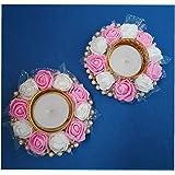 DECORATIVE BUCKETS Handmade Tea Light Holders|Set of 2 Flower Candle Holders|Diwali Decorations|onam pongal Rangoli Diya|Diwa