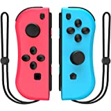 Joy-pad Controllers for Nintendo Switch,Left and Right Controllers with Strap, Replacement for Nintendo Switch Joycon (Red an