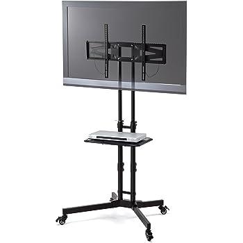 サンワダイレクト テレビスタンド キャスター付 32~65型対応 高さ無段階調整 棚板付 100-PL008