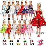 「Barwawa」ランダム5枚セット バービー 人形用服 ドレス ジェニー 用服  ウェア バービー用靴5足 ハンガー5個 ドール用 人形用 アクセサリー ジェニー用 ドレス  手作り 1/6ドール用 プリンセスドレス (マルチカラー)
