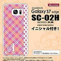 SC02H スマホケース Galaxy S7 edge ケース ギャラクシー S7 エッジ イニシャル タータン・ドット ピンク nk-sc02h-1532ini K
