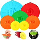 【7 Pack】Silicone Lids, Microwave Splatter Cover, 5 Sizes Reusable Heat Resistant Food Suction Lids fits Cups, Bowls, Plates,