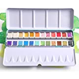 24 Color Artist Watercolor Paints Professional Metallic Glitter Solid Colors Blue Metal Case with Palette for Artists, Art Pa