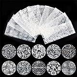 10種セット 黒白2色から選べレースネイルホイルフォイル クラッシュ ギアピーコックパータン ネイルシーツネイルパーツネイルアート (白)
