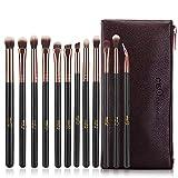 MSQ アイシャドウブラシ 12本 セット 化粧筆 ブルーミングブラシ 高級纤维毛 PUレザーケ(ローズゴールド)