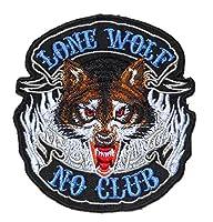 【ノーブランド品】 LONE WOLF NO CLUB  アイロン ワッペン 刺繍 パッチ ワッペン