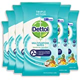 Dettol Multi Purpose Disinfectant Wipes Tropical, 720 Count, Pack of 6