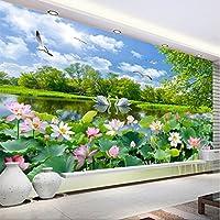 Weaeo 中国のスタイルの写真の壁紙3D白鳥の湖ロータス池壁画のリビングルームテレビのソファの背景壁画3D-400X280Cm