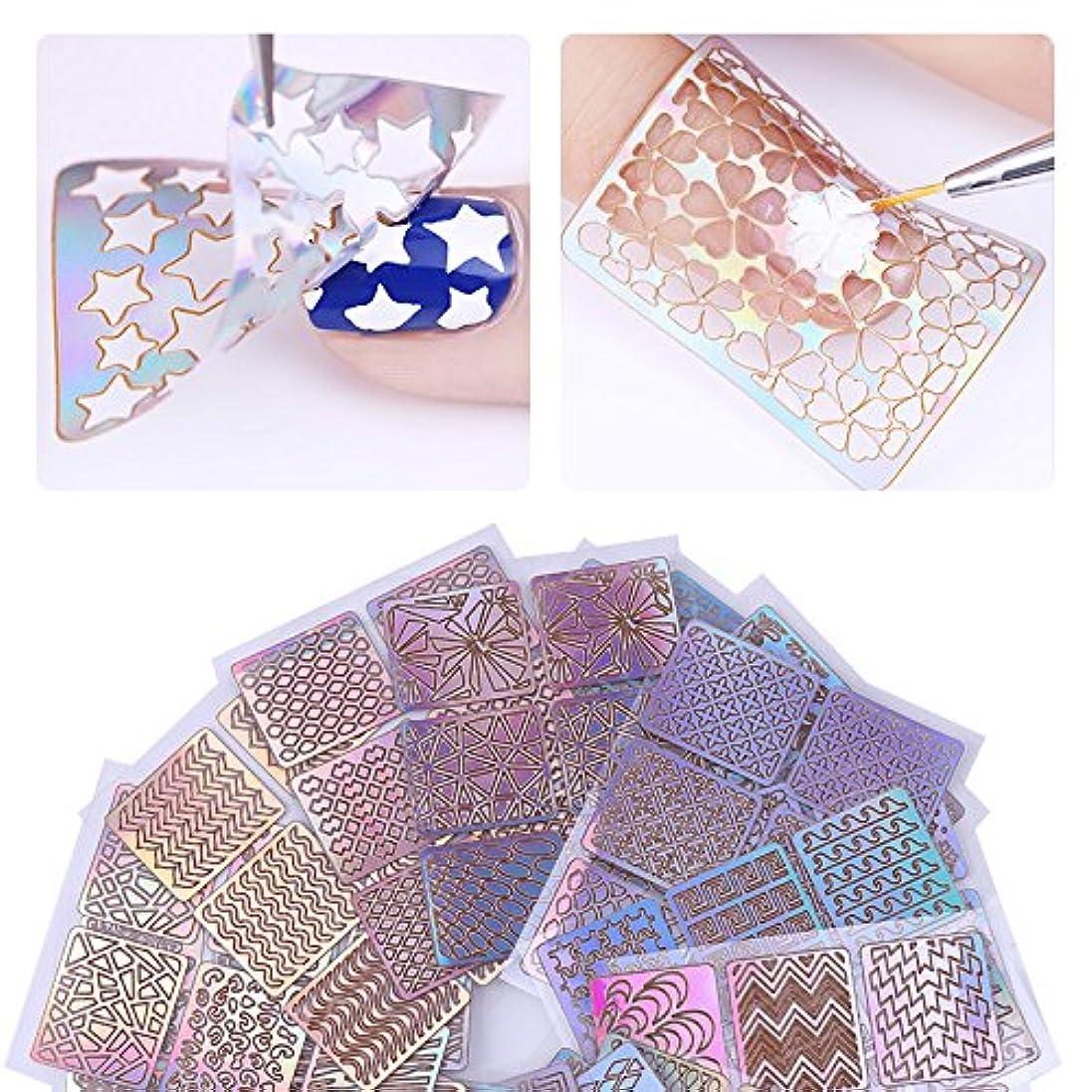 アスリート時刻表丁寧24sheets/lot Laser Hollow Nail Vinyls Nail Stencil Stickers Transfer Guide Template Heart Star Fish Nail Art Decals...