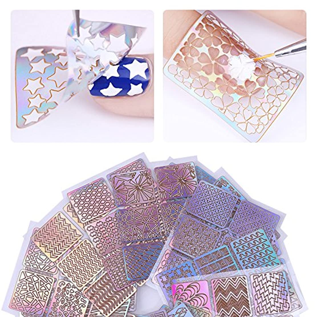 微生物領事館学習24sheets/lot Laser Hollow Nail Vinyls Nail Stencil Stickers Transfer Guide Template Heart Star Fish Nail Art Decals...