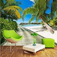 Lcymt ビーチシービュー写真の背景大壁画3Dココナッツの木木の橋リビングルームの寝室の背景写真壁紙-400X280Cm
