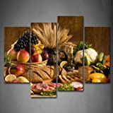 Framed 4 Panels Fresh Food Fruit Basket Canvas Print Wall Art Painting Picture for Home Office Decor