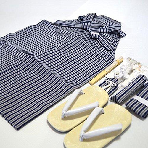 七五三 3歳 5歳 男児 縞 袴 セット男の子 2サイズ2色/L(60cm) 紺