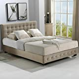 Levede Bed Frame Base with Gas Lift Double Size Platform Fabric Double Double