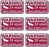 セキュリティアラームDecals 6pcsステッカー標識フロント粘着ビデオ監視