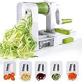 Spiralizer 5-Blade Vegetable Spiralizer,Sedhoom Foldable Spiral Slicer,Zucchini Noodle & Veggie Pasta & Spaghetti Maker for L