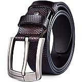 DORRISO Elegant Mens Genuine Leather Belt New Unique Leather Stripe Cowhide Large Belt for Men Jeans Travel Casual Business B