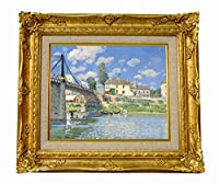 世界の名画 アルフレッド・シスレー ヴィルヌーヴ・ラ・ガランヌの橋 ジークレーキャンバス複製画F3号豪華額装品