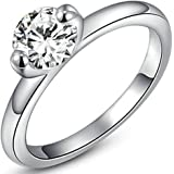 Epinki Wedding Ring for Women Girls Gold Plated Women Wedding Bands Colorful Simple Single Drill Cubic Zirconia Ring