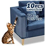 "10 Pcs Furniture Protectors from Cats, Clear Self-Adhesive Cat Scratch Deterrent, Couch Protector 4 Pack X-Large (18""L 12""W)"