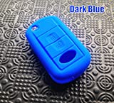 2ボタンシリコーン保護キーカバーケースフィット用ランドローバーフリーランダーlr3レンジローバースポーツディスカバリーevoqueリモートシェル-Dark Blue