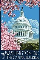議会議事堂建物and Cherry Blossoms–ワシントンDC 12 x 18 Signed Art Print LANT-34138-708