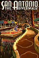 The Riverwalk – San Antonio、テキサス 12 x 18 Signed Art Print LANT-34067-708