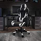 Flash Furniture X20 Gaming Chair Racing Office Ergonomic Computer PC Adjustable Swivel Chair with Fully Reclining Back in Bla