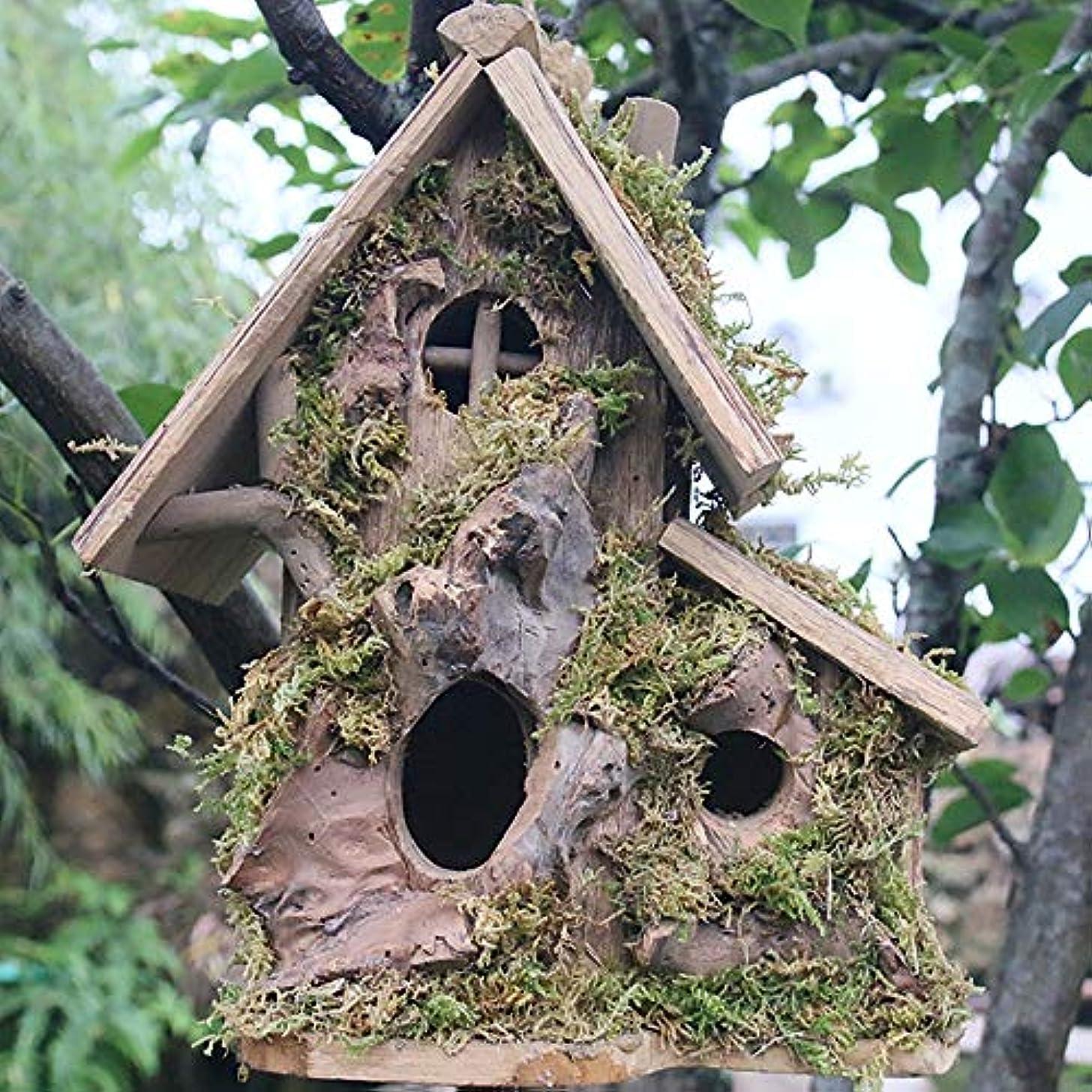 差別的予備中央値巣箱 木製ハンギングバードハウス屋外の鳥の巣の巣ボックスの庭の鳥の家の装飾のペンダント手作りの鳥の巣の庭の装飾繁殖鳥の巣ボックスバードフィーダー バードホテル (Color : Natural, Size : 27x14x28CM)