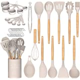 Kitchen Utensil Set Silicone Cooking Utensils Umite Chef 24 pcs Kitchen Utensils Tools Wooden Handle Spoons Silicone Utensil