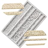 Neepanda DIY Baroque Scroll Relief Cake Border Silicone Molds, European Frame Cake Decorating Tools,Relief Flower Lace Mould