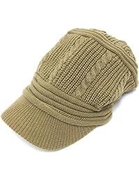 ハッピーハット ニットキャスケット たて編み模様デザイン knit-863-09 ライトカーキ
