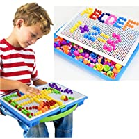 Hometomパズル、Jigsaw PuzzlesペグボードBuilding Blocks Game幼稚園DIYクリエイティブ教育玩具