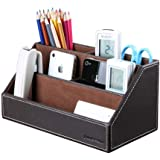 KINGFOM Home Office Wooden Struction Leather Multi-Function Desk Stationery Organizer Storage Box, Pen/Pencil,Cell Phone, Bus
