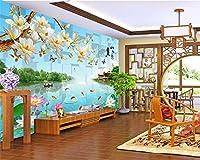 Mbwlkj 高い壁の壁画の壁紙江南山の水環境蓮の風景Wall3Dの壁紙-400cmx280cm